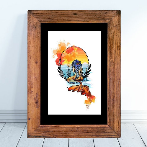Fire Element Inspired Mermaid a Watercolor Style Art Print