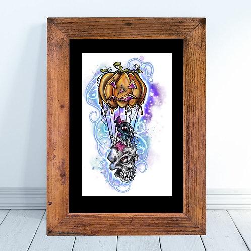 Halloween Hot Air Balloon Art Print