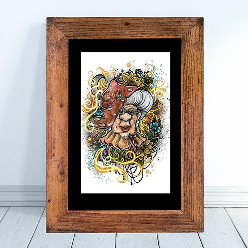 Witchy Mushroom Woman Art Print