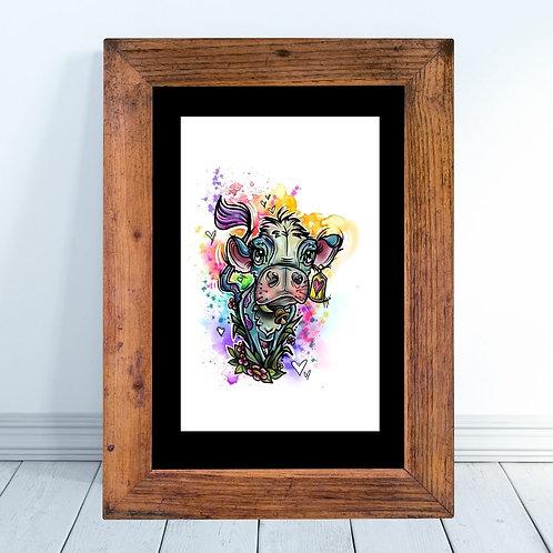 Watercolor Cow Art Print