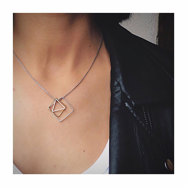 68a6f69c4fb It is a silver necklace with a mixed metal geometric shape pendant  necklace. All the things I love rolled into one! I swapped some items with  the designer ...