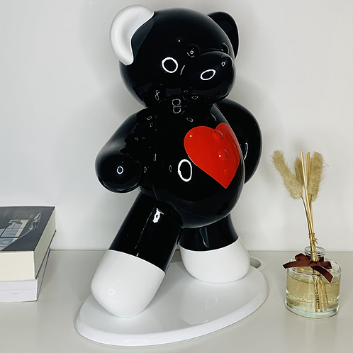 Ours Noir & coeur rouge  45cm Co. N°4