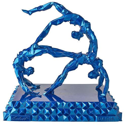 Trapéziste bleu metallic