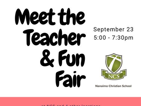 Meet the Teacher / Fun Fair is Sept. 23
