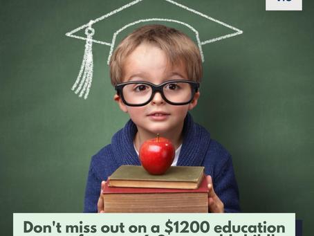 $1,200 Training & Education Savings Grant available