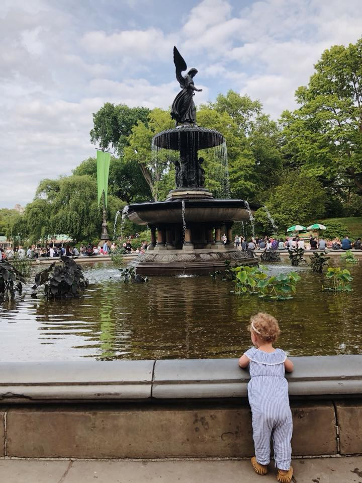 baby and fountain