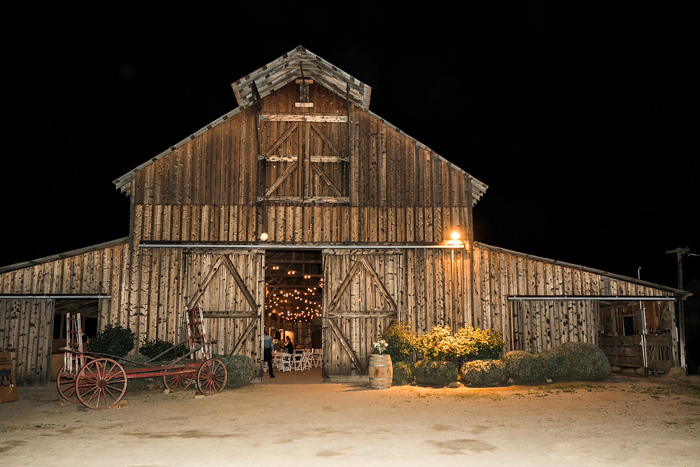 night shot of barn