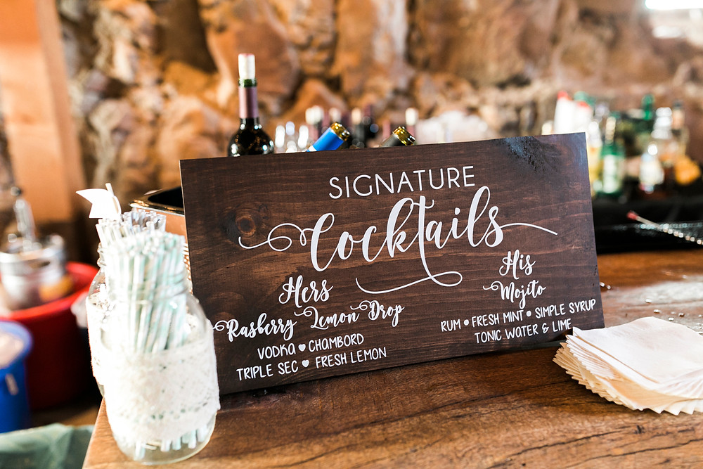 signage at wedding