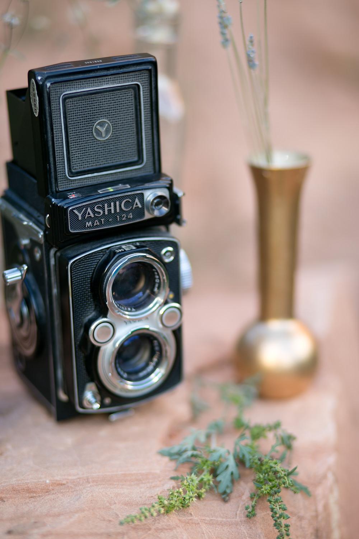 vintage camera and vase