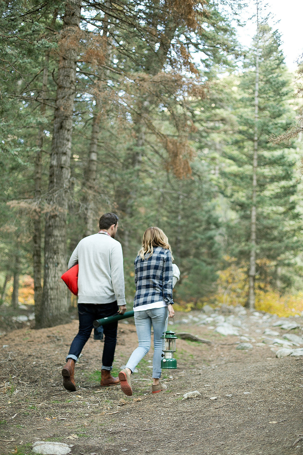 boy and girl walking in the forest