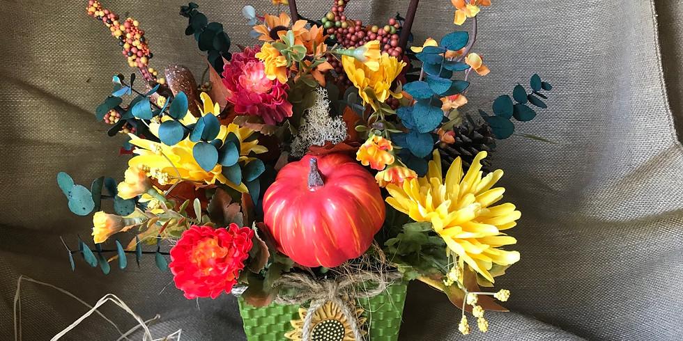 Wine & Floral Design: Fall Harvest Table Arrangement
