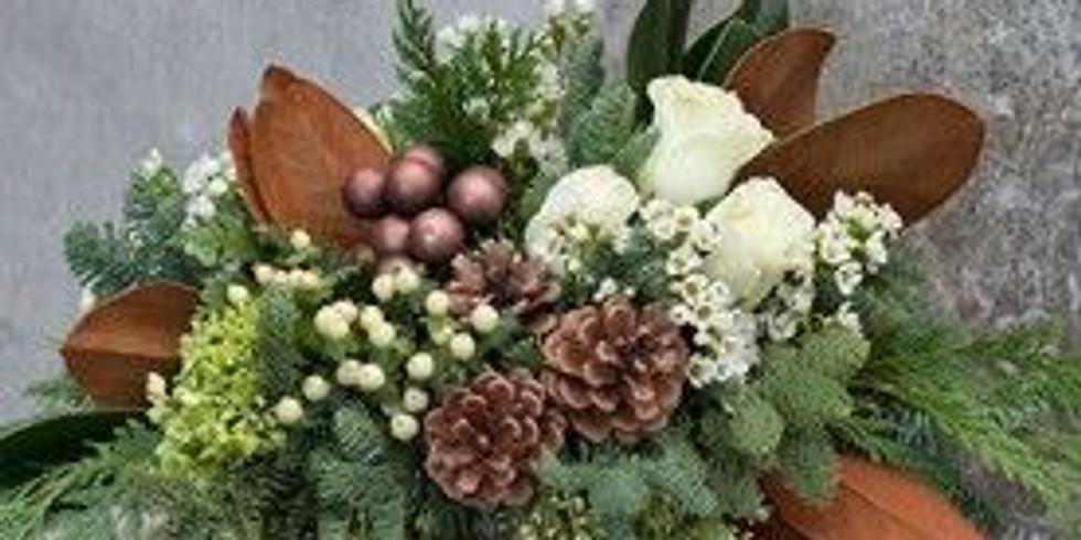 Wine & Floral Design: Holiday Arrangement