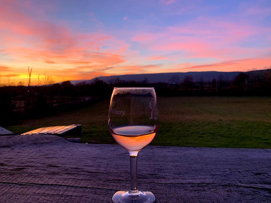 Wine glass at sunset