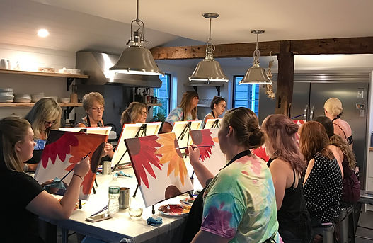 A private paint and sip party in our kitchen studio.