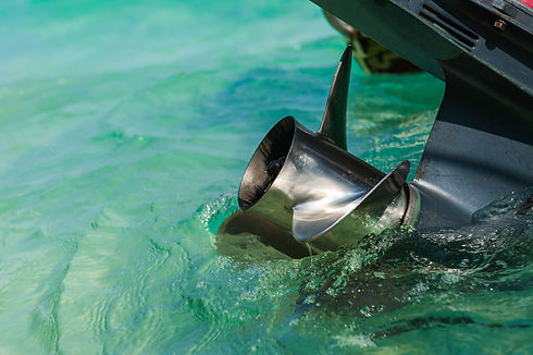 Close up stainless steel motor boat prop