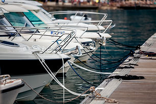 Beautiful view of white yachts moored at