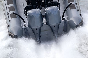 Powerfull outboard engines mounted on a