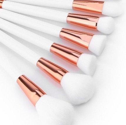 White & Rose Gold Brush Set