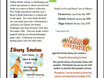 Back to Books Reading 4 Pleasure Contest & October Newsletter