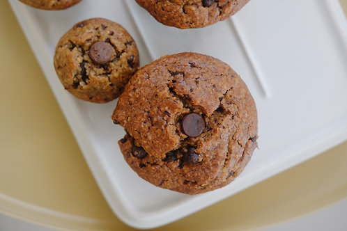 Muffins de guineo y chocolate chips