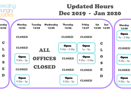 Updated hours for winter holidays