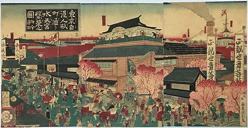 [木版]東京自慢人形通り水天宮繁栄之図 附今清図 3枚続 国利