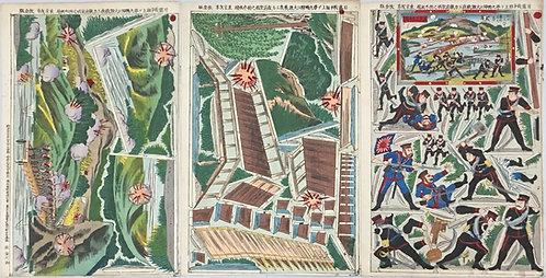 [木版組上]日露戦争組上ゲ第九鴨緑江大激戦我工兵敵前架橋之図三枚続