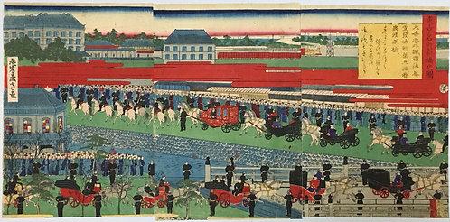 [木版]東京名所新橋之図 3枚続 永島孟斎