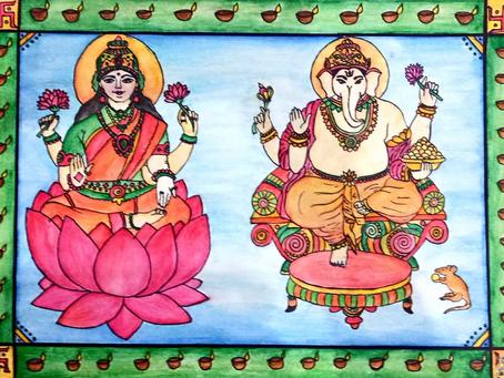 Lord Ganesha and Goddess Laxmi