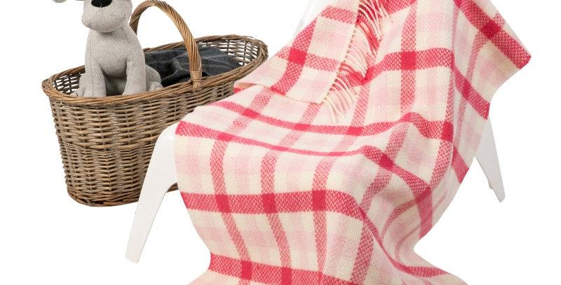 John Hanly Cashmere Baby Blanket: Pink Block Check