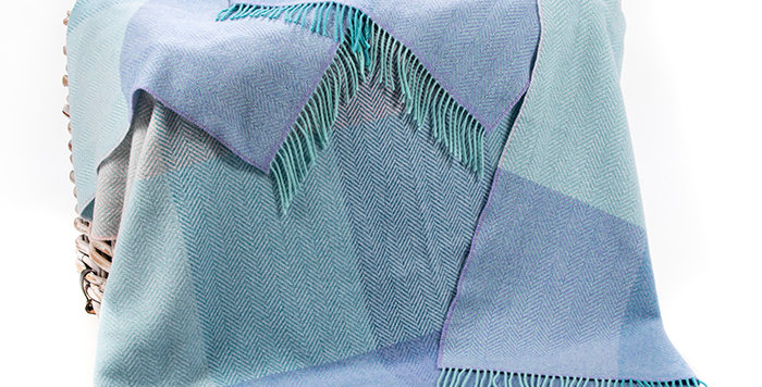 John Hanly Cashmere Throw: Duck Egg, Lilac, Teal Block Check