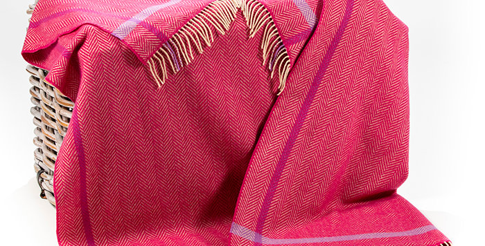 John Hanly Cashmere Throw: Raspberry, Cream, Purple Herringbone