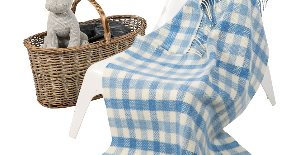 John Hanly Cashmere Baby Blanket: Blue Block Check