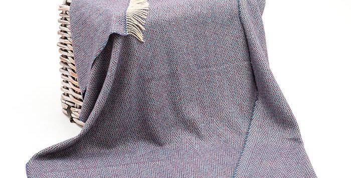 John Hanly Cashmere Throw: Blue Turquoise Maroon Herringbone