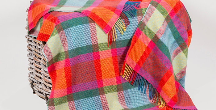 John Hanly Cashmere Throw: Bright Yellow, Pink and Green Check