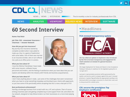 60 Second Interview with Paul Muir, CDL News