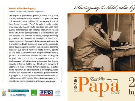 Premio Giornalistico Papa Ernest Hemingway e festival Hemingway, il Nobel nella laguna di Caorle