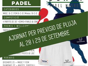 TORNEO -SUPER WEEKEND PADEL-        28 y 29 de Septiembre 2019 - Padel Ocata