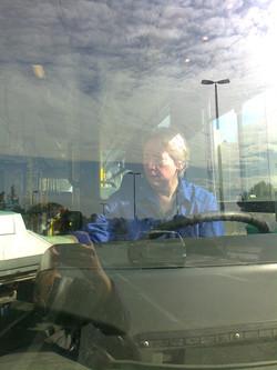 Busfahrerin im Einsatz