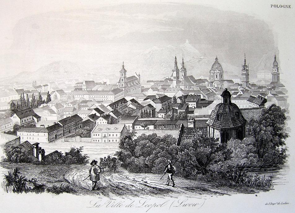 Город Львов (La Ville de Leopole (Lwow)). Гравюра на стали, начало XIX века, Франция.