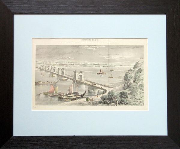 Цепной мост через Днепр в Киеве. Гравюра, [1855 г.]
