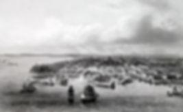 Одесса, вид на гавань и город . Гравюра, середина XIX в.