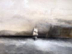Мыс Айя. Вид на север, в сторону Балаклавы. Старинная тоновая литография. Англия. 1855 г.
