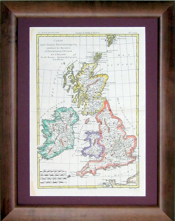 Британские острова. Карта,XVIII в.