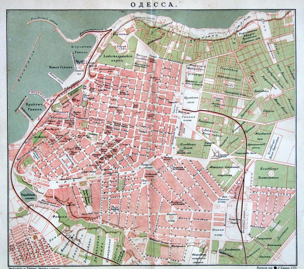 Одесса.Старинный цветной план города. Начало XX в. Оформленв паспарту и деревянную рамку, покрытбезбликовым стеклом. Размер в раме 40х50 см.