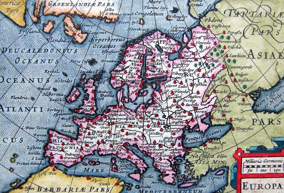 Европа. Старинная карта. Начало XVII в.