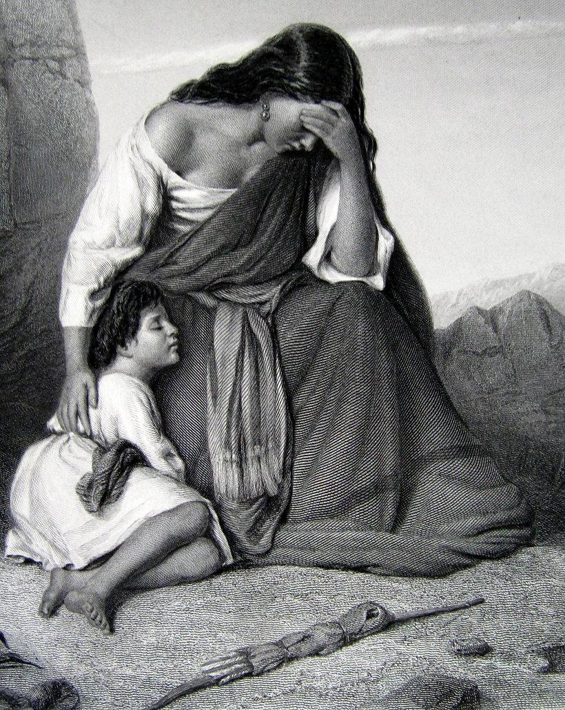 Агарь и Ишмаэль. Гравюра, середина XIX в.