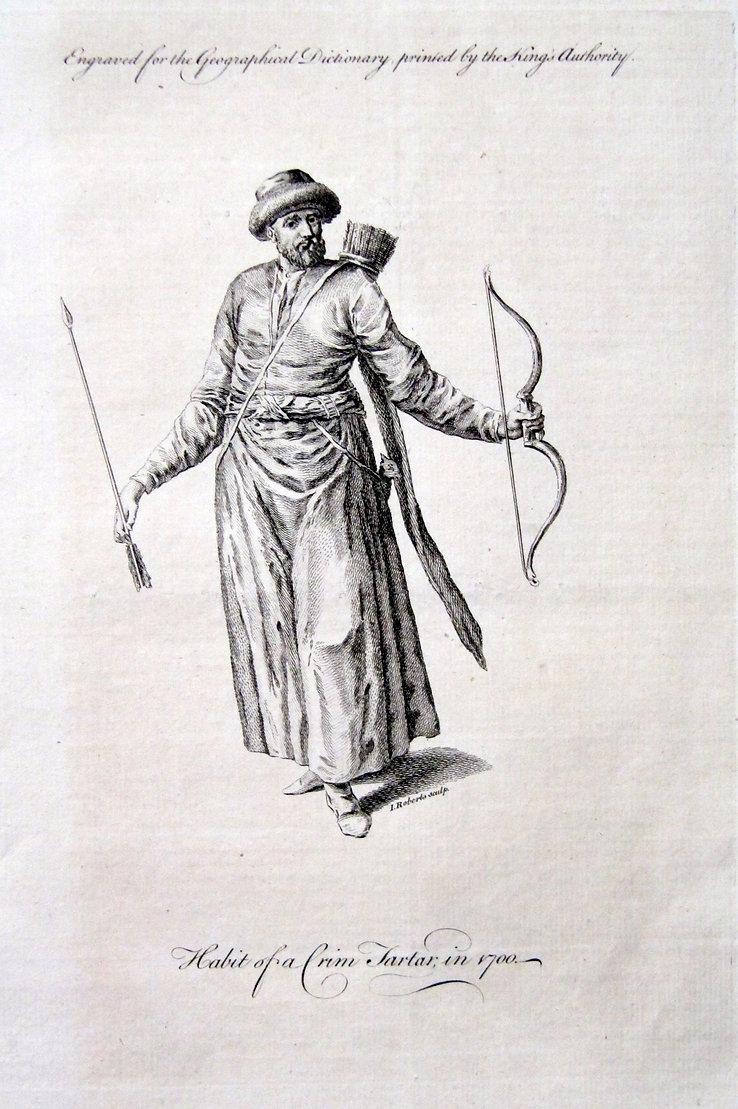 Крымский татарин в 1700 году. Старинная гравюра, вторая половина XVIII в.