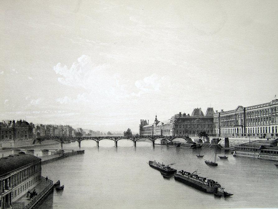 Лувр и Сена. Литография, середина XIX в.