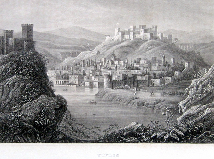 Тифлис (Тбилиси). Старинная гравюра на стали.Германия. Около 1840 г.